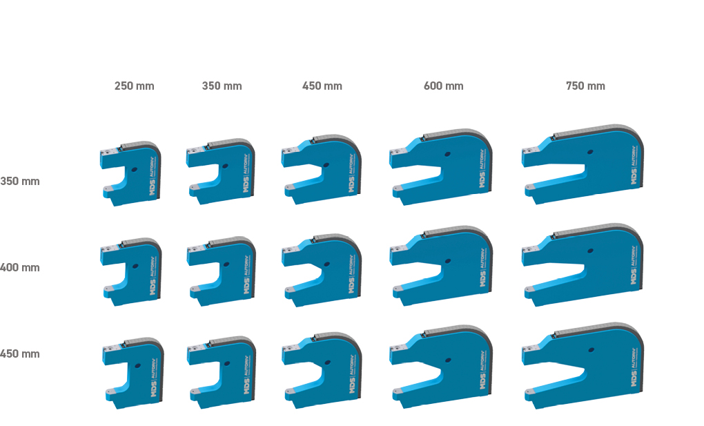 aw depths of 250 mm, 350 mm, 450 mm, 600 mm or 750 mm ensure the processing oflarge